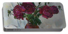 Burgundy Peonies Portable Battery Charger