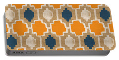 Burlap Blue And Orange Design Portable Battery Charger