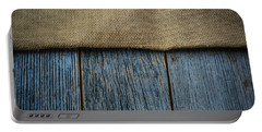 Burlap Texture On Wooden Table Background Portable Battery Charger