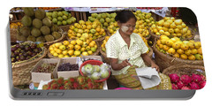 Burmese Lady Selling Colourful Fresh Fruit Zay Cho Street Market 27th Street Mandalay Burma Portable Battery Charger