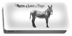Portable Battery Charger featuring the drawing Burro Of Love And Hope by Marianne NANA Betts