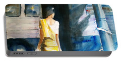 Bus Stop - Woman Boarding The Bus Portable Battery Charger by Carlin Blahnik