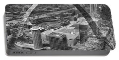 Busch Stadium Bw A View From The Arch Merged Image Portable Battery Charger