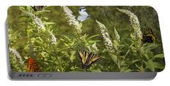 Butterflies In Golden Garden Portable Battery Charger by Belinda Greb