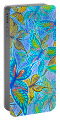 Portable Battery Charger featuring the mixed media Butterflies On Blue by Teresa Ascone