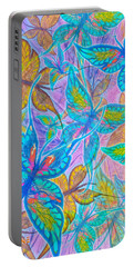 Portable Battery Charger featuring the mixed media Butterflies On Lilac by Teresa Ascone