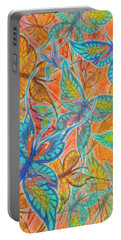 Portable Battery Charger featuring the painting Butterflies On Tangerine by Teresa Ascone