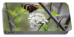 Portable Battery Charger featuring the photograph Butterfly And Apple Blossoms by Penny Meyers