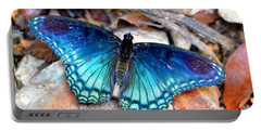 Portable Battery Charger featuring the photograph Butterfly Blue  by Deena Stoddard