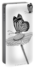 Portable Battery Charger featuring the digital art Butterfly Friends by Carol Jacobs
