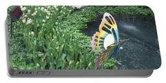 Butterfly Garden Ladybug Flowers Green Theme Portable Battery Charger by Navin Joshi