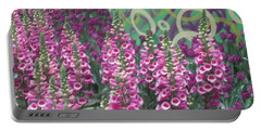 Butterfly Garden Purple White Flowers Painted Wall Portable Battery Charger by Navin Joshi