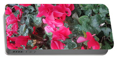 Butterfly Garden Red Exotic Flowers Las Vegas Portable Battery Charger by Navin Joshi