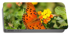 Butterfly In The Glades - Gulf Fritillary Portable Battery Charger by Christiane Schulze Art And Photography