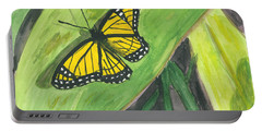 Portable Battery Charger featuring the painting Butterfly In Vermont Corn Field by Donna Walsh