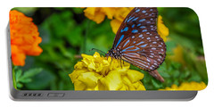 Butterfly On Yellow Marigold Portable Battery Charger