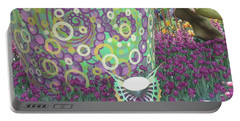 Butterfly Park Garden Painted Green Theme Portable Battery Charger by Navin Joshi