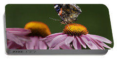 Portable Battery Charger featuring the photograph Butterfly Red Admiral On Echinacea by Peter v Quenter