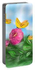 Portable Battery Charger featuring the digital art Butterfly Triplets by Christine Fournier