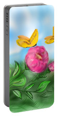 Portable Battery Charger featuring the digital art Butterfly Twins by Christine Fournier