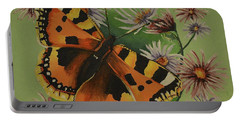 Butterfly With Asters Portable Battery Charger