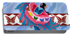 Portable Battery Charger featuring the painting Butteryfly Fancy Dancer by Chholing Taha