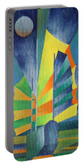 Portable Battery Charger featuring the painting By The Light Of The Silvery Moon by Tracey Harrington-Simpson
