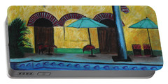 Portable Battery Charger featuring the painting By The Poolside by Jeanne Fischer