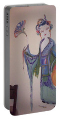 Bye Bye Peony Portable Battery Charger by Judith Desrosiers