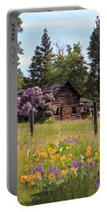 Cabin And Wildflowers Portable Battery Charger by Athena Mckinzie