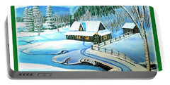 Portable Battery Charger featuring the painting Cabin Fever At Christmastime by Kimberlee Baxter
