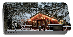 Cabin With Christmas Lights Portable Battery Charger