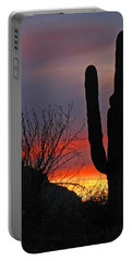 Cactus At Sunset Portable Battery Charger by Marcia Socolik