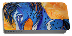 Portable Battery Charger featuring the painting Cadet The Blue Horse by Janice Rae Pariza