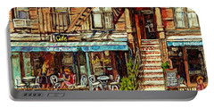 Cafe Mogador Moroccan Mediterranean Cuisine New York Paintings East Village Storefronts Street Scene Portable Battery Charger