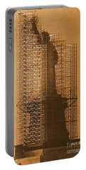 New York Lady Liberty Statue Of Liberty Caged Freedom Portable Battery Charger by Michael Hoard
