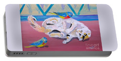 Portable Battery Charger featuring the painting Calico And Friends by Phyllis Kaltenbach