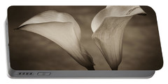 Portable Battery Charger featuring the photograph Calla Lilies In Sepia by Sebastian Musial