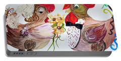 Portable Battery Charger featuring the painting Calling All Chicken Lovers Say I Do by Eloise Schneider