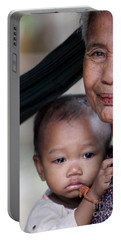 Cambodian Grandmother And Baby #3 Portable Battery Charger by Nola Lee Kelsey