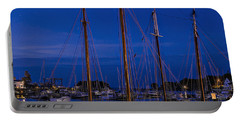 Camden Harbor Maine At 4am Portable Battery Charger by Marty Saccone