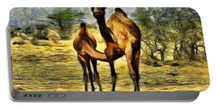 Camel Mom And Baby In Desert India Rajasthan Portable Battery Charger