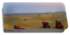 Camels Kneeling Sand Dunes Thar Desert Rajasthan India Portable Battery Charger