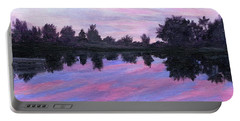 Portable Battery Charger featuring the painting Camp Sunset by Lynne Reichhart