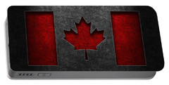 Canadian Flag Stone Texture Portable Battery Charger