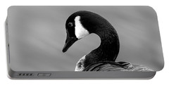 Portable Battery Charger featuring the photograph Canadian Goose In Black And White by Frank Bright