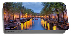 Canal In Amsterdam At Dusk Portable Battery Charger