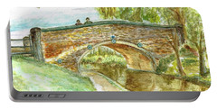 Portable Battery Charger featuring the painting Canal-bridal Path In Staffordshire  by Teresa White