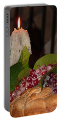 Candle And Grapes Portable Battery Charger by Marcia Socolik