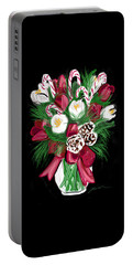 Portable Battery Charger featuring the painting Candy Cane Bouquet by Jean Pacheco Ravinski